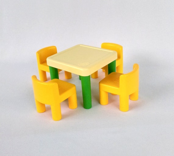Vintage Little Tikes Table And Chairs For Dollhouse Doll