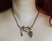 """LAST ONE - Branches, leaves and pinecones necklace in bronze tone """"Dream fall"""""""