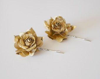 Gold Rose Hair Clips, wedding hair accessories, bridal hair clips, gold rose pins, flower hair clips, rose bobby pins - set of two