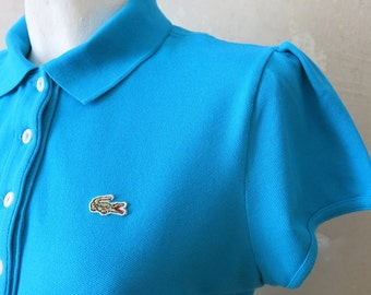 LACOSTE turquoise blue vtg special edition woman polo shirt sz M
