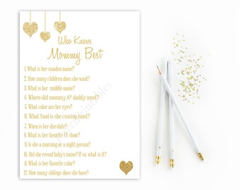 Who Knows Mommy Best Baby Shower Game Printable, White and Gold Glitter, Instant Download, Digital Who Knows mommy best, Gender Neutral, DIY