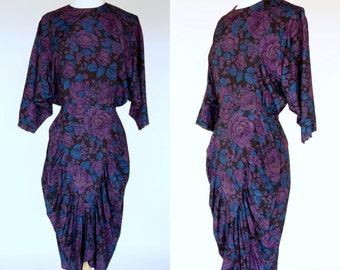 1980s avant garde dress, purple floral rayon ruched dress, All that Jazz, Small