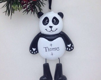 FREE SHIPPING Panda Bear Personalized Christmas Ornament - Zoo Animal Ornament - Hand Personalized Christmas Ornament