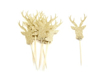 12 Gold Glitter Deer Cupcake Toppers  -  Birthday Cupcake Topper, gold birthday cake topper, wedding cupcake topper
