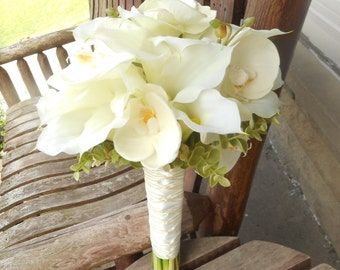 Beach Wedding White Real Touch Calla Lily Cascading Beach Bouquet / Silk Bridal Bouquet / Silk Wedding Flowers / Calla Lily Tropical Flowers