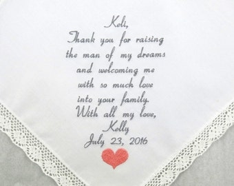 Mother of the groom gift Mother in law wedding gift Embroidered wedding Hankerchief Mother in law gift Personalized Handkerchief