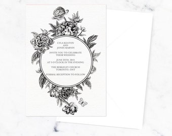 LYLA SUITE || wedding invitation, rsvp, black and white botanical suite, vintage