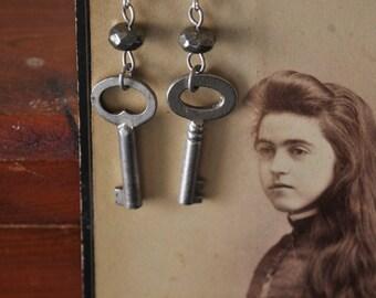 Vintage Key Pyrite Earrings