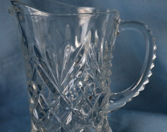 Vintage Pressed Glass Pitcher, Anchor Hocking Early American Prescut (EAPC) Glass Pitcher, Pineapple Pattern