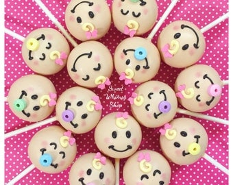 12 Baby Face Cake Pops - for baby shower, gender reveal party favor, newborn birth announcement, first birthday, twins, new mom, pacifier