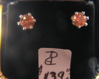 Oregon Sunstone Earrings 5MM Round Sterling Silver Post/Studs
