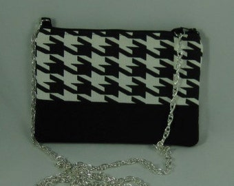 Black and White Classic Hounds tooth cotton print cross body purse