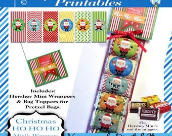 Hershey Mini's Candy Bar Wrapper, Merry Christmas - Ho Ho Ho, Bag Tag, santa, for Mini bars not Nuggets