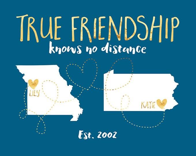 Best Friend Long Distance Art, True Friendship Quote, State Maps, Bridesmaids Gifts, Kids Friends Farewell Gift, Friend Moving Away   WF183