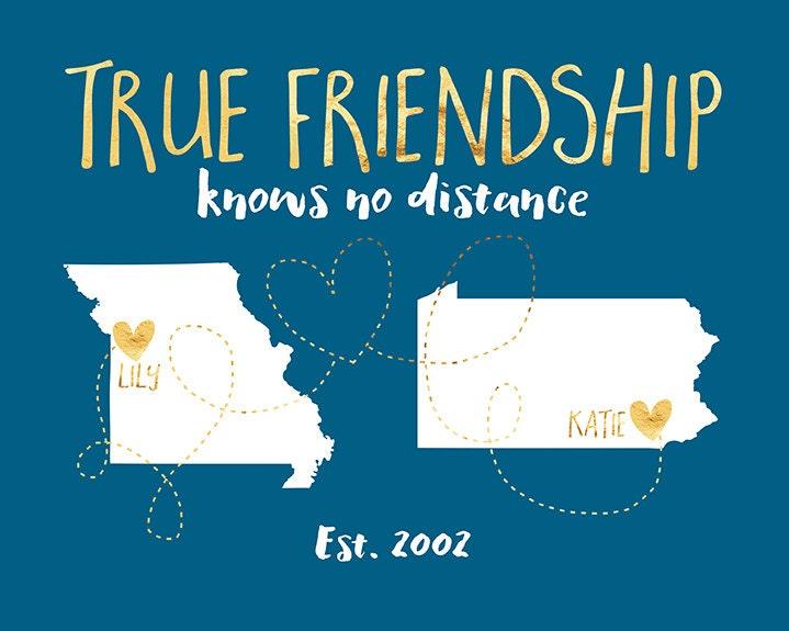 Best Friend Long Distance Art, True Friendship Quote