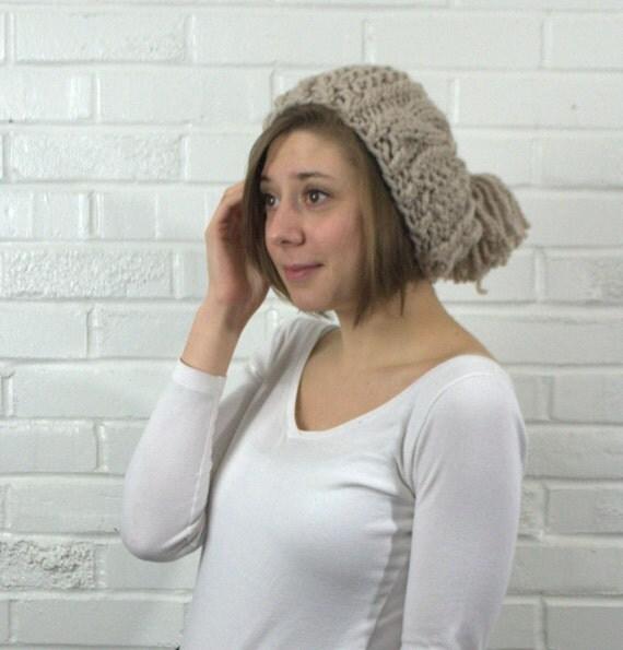 Knit PomPom Hat -Chunky Winter Hat-Chunky Knit Hat-Chunky Beanie- Womens Pompom Hat-Slouchy Hat-Slouchy Knit Hat-Womens Beanie-Cozy knit Hat