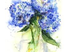 Hydrangeas -  Watercolor flower print - floral watercolor art