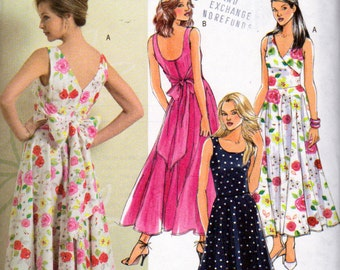 Butterick 4795, Sleeveless Flared Skirt Dress with Big Bow on the Back, Sizes 6, size 8, size 10, size 12,Unused