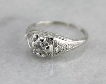 Art Deco Platinum and Diamond Engagement Ring  U11FWW-P