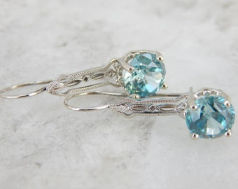 Spectacular Blue Zircon, Bridal Drop Earrings UV1NK8-R