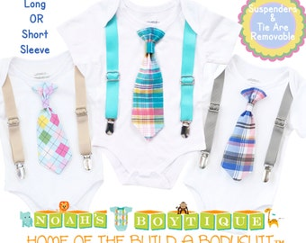 Baby Boy Easter Outfit - Toddler - Baby Boy Clothes - Tie Suspenders - Boy Plaid Tie Grey Teal - Boys Outfit - Blue - Boy Summer Outfit