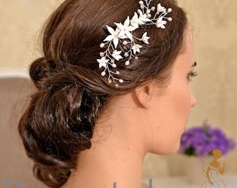 Wedding hair piece Wedding headpiece Bridal hair piece Wedding hair flower Wedding hair comb - BIANCA