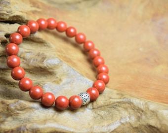 Jasper bracelet, Red jasper beads, Gemstone bracelet, Sterling bracelet, Jasper jewelry, Firebrick bracelet, Red jasper jewelry