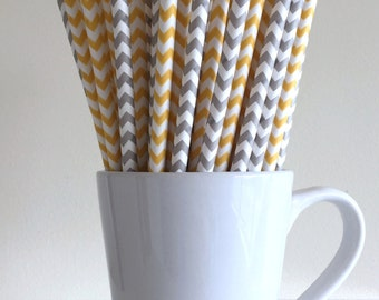 Yellow and Gray Paper Straws Grey and Yellow Chevron Party Supplies Party Decor Bar Cart Cake Pop Sticks  Party Graduation