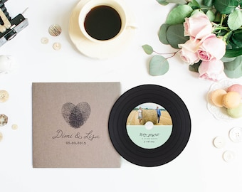 Vintage Vinyl CDs and Sleeves, Kraft CD Wedding Favors, Custom CD Sleeves & Vinyl CDs Package, Unique Wedding Favors, Customize your Design