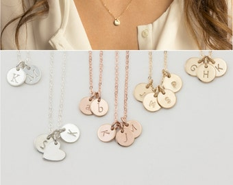 Custom Initial Necklace, Mothers Necklace with Dainty Custom Disc Personalization • Family, Kids Multi-Tag Initial Disk Necklace, LN206_V