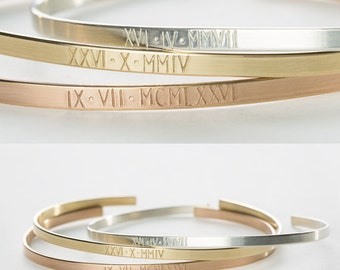 Roman Numerals Bracelet • Personalized Custom Date Bracelet Gift for Her • Simple Engraved Cuff Bracelet • Stacking Bracelet Gift • LB128