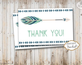 INSTANT DOWNLOAD - Navy Mint Tribal Thank You Card - Pow Wow Tribal Feather Aztec Thank You Note - Tribal Arrows Pow Wow - 0339 0440