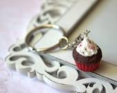 Cupcake keychain, miniature food keychain, christmas gift ideas, polymer clay gift