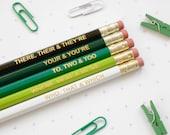 GREEN GRAMMAR PENCILS Ombre Coloured Pencil Set Gift for School English Teacher Graduation Present Colourful Retro Hex Gold Type BuzzFeed Uk