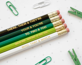 GREEN GRAMMAR PENCILS Ombre Coloured Pencil Set Gift for School English Teacher Graduation Present Colourful Retro Hex Gold Type BuzzFeed Uk