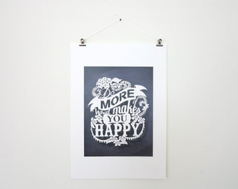 SALE! -A3 afdrukken oorspronkelijke papier knippen - Papercut print - Quote - doe meer van wat maakt je gelukkig - inspirerende Quote - Wall art