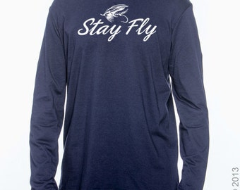 Stay Fly Fishing T-shirt For Men (L/S Navy)