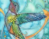 Hummingbird 8.5 x 11 print of watercolour artwork in vibrant turquoise, rich gold, and beautiful earth tones, avian bird watercolor art