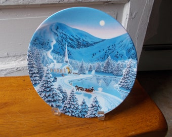 Vintage Christmas Plate Silent Night WS George 1990