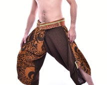 Limited Edition  Samurai Pants with Hmong Embroidery fabric on Edge, One size fits All, Unique Handmade