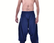 Samurai Pants in Blue, Trouser, Baggy pants, Yoga 100% Cotton(Unisex) One Size Fit All...New