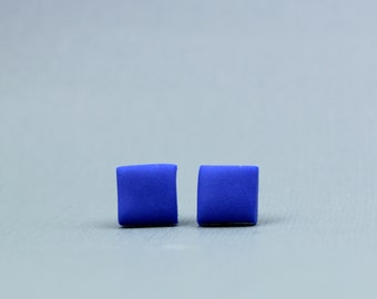 Cobalt blue square earrings, blue square earrings, square studs, cobalt earrings earrings, geometric blue earrings, cobalt square studs
