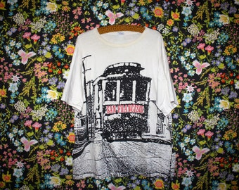 Vintage 90s Oversized San Francisco Cable Car Shirt * Graphic Tourist Travel Tee * Double Sided * Crazy Shirt * XL * OSFM