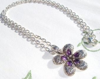 Amethyst Flower Necklace, Amethyst Plumeria Pendant, Gemstone Flower, Sterling Silver Plumeria Pendant, Amethyst Plumeria, Plumeria Necklace