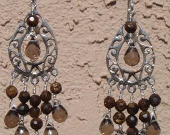 Smoky Quartz Bronzite Earrings, Sterling Silver Bali Style Earrings, Dangle Earrings, Gemstone Earrings, Wire-wrapped Earrings, Chandelier