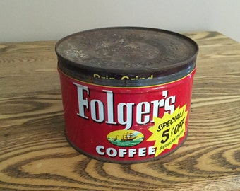 Vintage 1952 Folger's Coffee Tin with lid, 1 lb metal can, Red  Farmhouse Kitchen