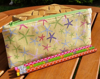 Starfish Pencil Case: beach theme cloth pencil bag, zippered gadget pouch, summer zip bag