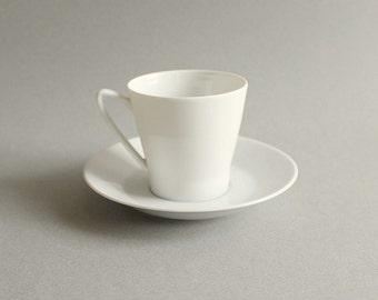 CLEARANCE Upsala Ekeby Karlskrona Tea Cup & Saucer White Mid Century