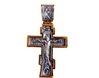 Sterling Silver Big Russian Greek Orthodox Cross, Silver Cross, Russian Cross, 18 Karat Gold Plated Silver Cross, Crucifixion of Jesus Crist