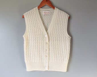 Vintage Cable Knit Sweater Vest Ivory Cream Knit Cardigan Off White Sweater Vest 1960's 1970's Women's Top Vintage Sweater Size Small Medium